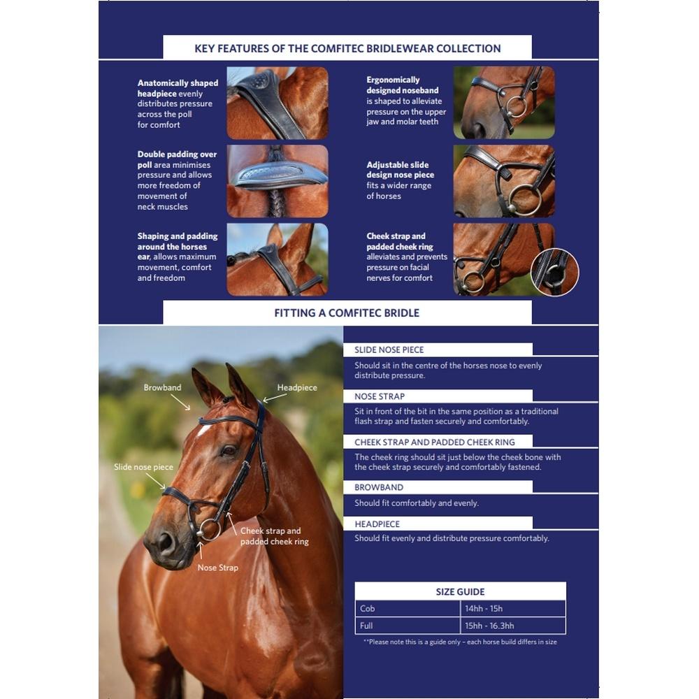 (カレッジエイト) Collegiate 馬用 Comfitec クリスタル レザー ブライドル 頭絡 乗馬 ホースライディング 【海外直送】