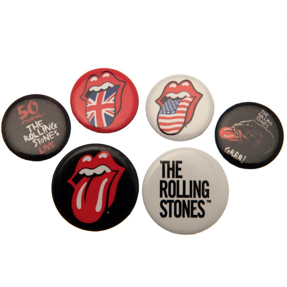 バンド 超特価 ブローチ ロック ピンバッジ アクセサリー ローリング ストーンズ The 海外直送 6個セット オフィシャル商品 缶バッジ Stones ロゴ Rolling ついに入荷