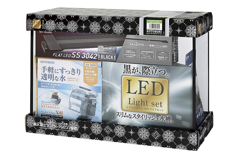 【飼育用品・器具】【水槽】レグラスF-400SH/B F-LEDライトセット(淡水 海水用)