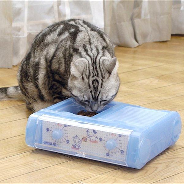 ペット用食器 小型犬 猫 タイマー 留守番 自動給餌 CD-400 送料無料新品 ブルー 新作からSALEアイテム等お得な商品 満載 国産 わんにゃんぐるめ 2食 自動給餌器