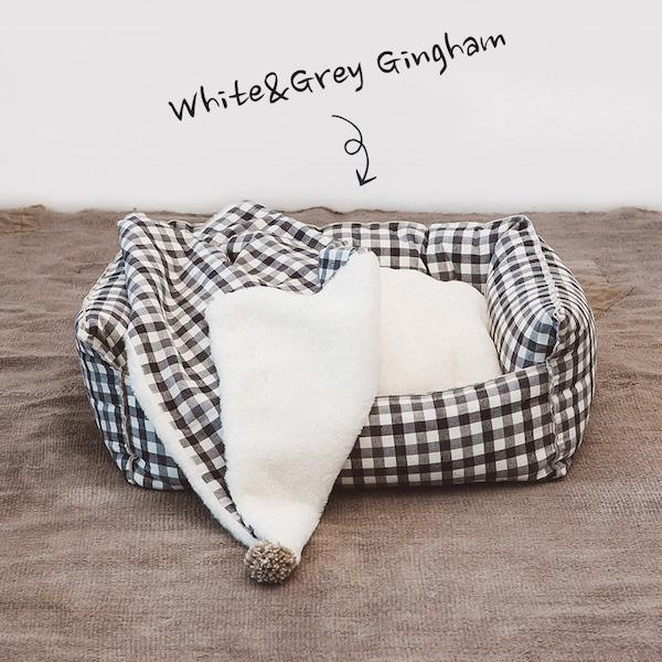 【ルイスドッグ】エジプシャンコットンブーム ベッド ホワイト&グレーギンガム S