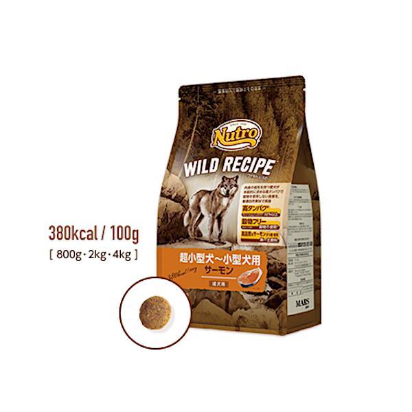 ドッグフード ペットフード 犬 ドライ グレインフリー 鮭 正規取扱店 ナチュラル サーモン ワイルドレシピ 成犬用 引出物 超小型~小型犬 ニュートロ 800g