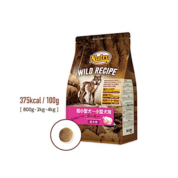 ドッグフード ペットフード 犬 ドライ グレインフリー 七面鳥 贈答品 穀物不使用 ワイルドレシピ 超小型~小型犬 ターキー 800g ニュートロ 成犬用 セールSALE%OFF