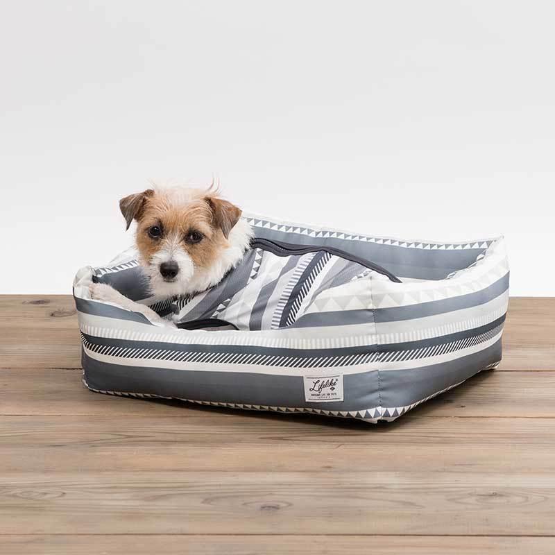 特売 シンプルなボーダーベッドです LIFE LIKE ジオメトリーボーダーベッド 82S006 四角 犬用ベッド ペット用ベッド クッション ペットグッズ 日本産 シンプル 超小型犬 接触冷感 おしゃれ 小型犬 リバーシブル 夏 春 かわいい
