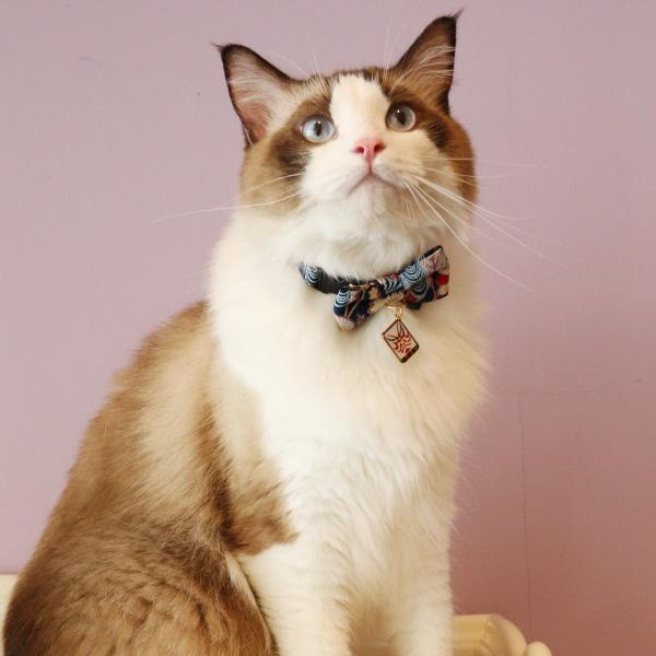 ネコ用首輪 歌舞伎 <迷子札なし仕様>鈴 和柄