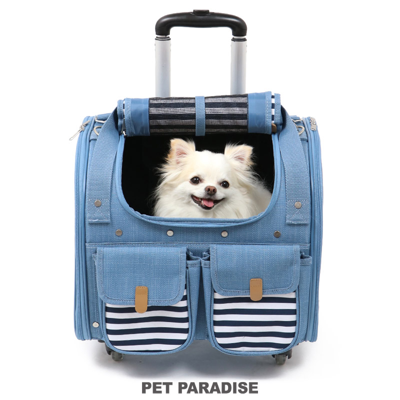犬用品 注目ブランド 未使用品 ペットグッズ キャリーバッグ ペットパラダイス クーポン利用で2000円OFF 犬 キャリー キャスター付き 6kg デニム風 4輪 送料無料 軽量 キャリーバック 四輪 カート 介護 1年保証 猫