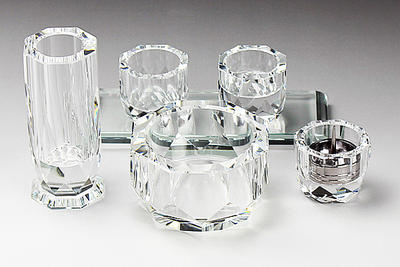 クリスタルペット仏具 6点セット【輝き104】ホワイトガラスK-9