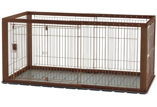 【クーポン】リッチェル 木製スライドペットサークル ワイド ダークブラウン 4973655593523 送料無料