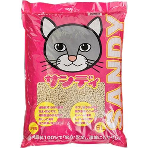 猫砂 植物原料100%の猫砂 サンディ 6L  4523294003381 サンメイト 猫砂 猫用品 猫 ネコ  猫の砂 ペット用品 インスタ映え 可愛い 安い 人気 トイレ雑貨 ネコ ペット用 猫用 紙 ねこすな