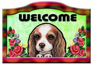 キャバリア グッズ 雑貨 犬 代引き不可 ステッカー シール 人気 ネーム入れOK 送料無料 名入れ バラ模様 プレゼント 玄関 ウエルカムプレート ネームプレート 9 メール便 誕生日 キャバリアグッズ 表札