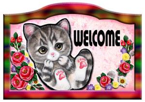 猫 ネコ グッズ 雑貨 犬 好評受付中 ステッカー シール ネーム入れOK 送料無料 ウエルカムプレート ネームプレート 表札 玄関 バラ模様 名入れ 特別セール品 猫102