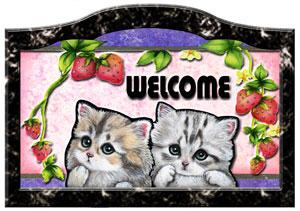 輸入 猫 ネコ グッズ 雑貨 犬 ステッカー 正規品スーパーSALE×店内全品キャンペーン シール ネーム入れOK ウエルカムプレート いちご模様 表札 ネームプレート 玄関 名入れ 201