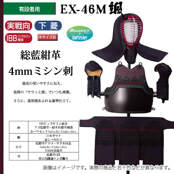 松勘 総藍紺革4mmミシン刺 有段者向け 剣道防具セット