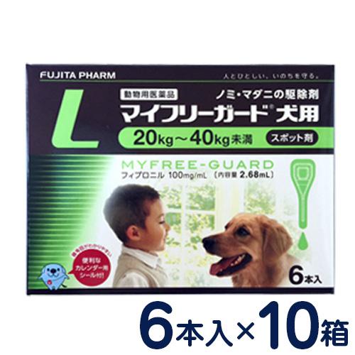 マイフリーガード 犬用 L(20~40kg) 6本入り×10個セット [ノミ・マダニ駆除剤]