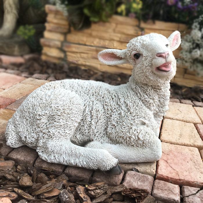 ■ガーデンオブジェ■庭の動物たちおすわり子羊