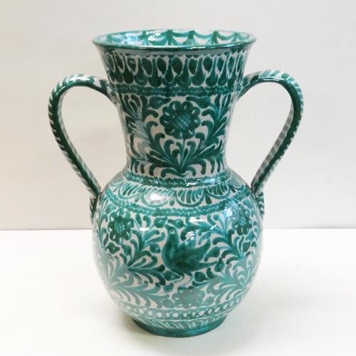 ■スペイン製■グラナダ両手付き花瓶(緑)