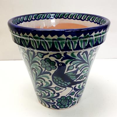 ■スペイン陶器■グラナダプランタ- 2T Φ26柄(鳥とザクロとヒマワリ) NO.1