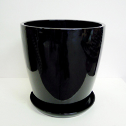 ■オリジナル陶器鉢■《送料無料》オリジナル スタイリッシュ陶器鉢直径38cm 穴あり 受け皿つき【CT-2】ブラック