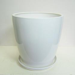 ■オリジナル陶器鉢■《送料無料》オリジナル スタイリッシュ陶器鉢直径38cm 穴あり 受け皿つき【CT-2】ホワイト