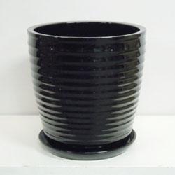 ■オリジナル陶器鉢■《送料無料》オリジナル スタイリッシュ陶器鉢直径38cm 穴あり 受け皿つき【CT-9】ストライプ ブラック