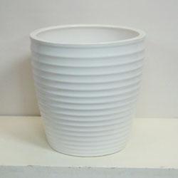 ■オリジナル陶器鉢カバー■《送料無料》オリジナル スタイリッシュ陶器鉢カバー 10号鉢用【CT-8】ストライプ ホワイト