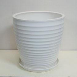 ■オリジナル陶器鉢■《送料無料》オリジナル スタイリッシュ陶器鉢直径38cm 穴あり 受け皿つき【CT-9】ストライプ ホワイト