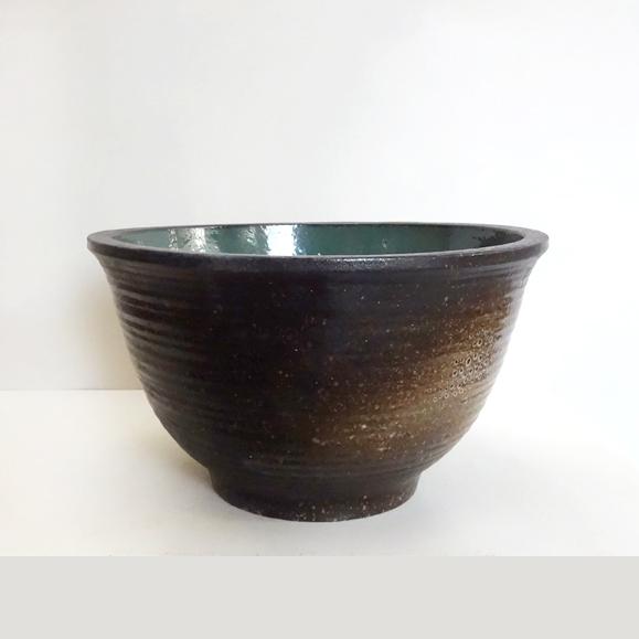 ■水生植物に■《送料無料》睡蓮鉢(水鉢) Linfeng和鉢 茶緑 直径50.5cm