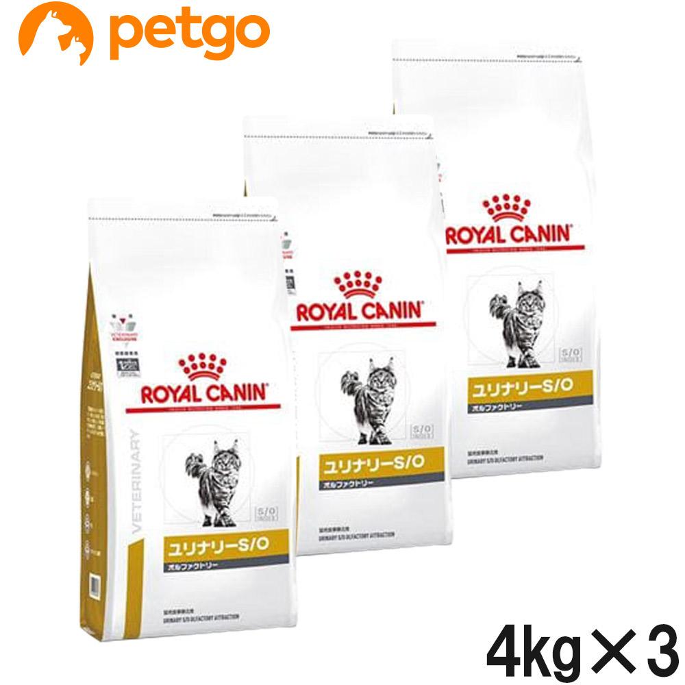 【3袋セット】ロイヤルカナン 食事療法食 猫用 ユリナリーS/O オルファクトリー ドライ 4kg(旧 pHコントロール2 フィッシュテイスト)【あす楽】