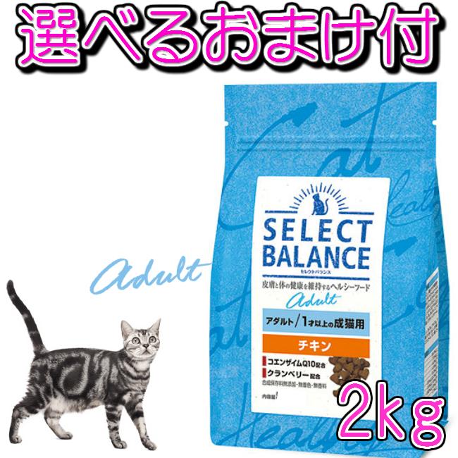 セレクトバランス アダルト チキンは 1才以上の成猫の健康維持に必要な栄養をバランスよく含んでいます 送料無料 男女兼用 1才以上の成猫用 店内限界値引き中&セルフラッピング無料 チキン 2kg 選べるおまけ付