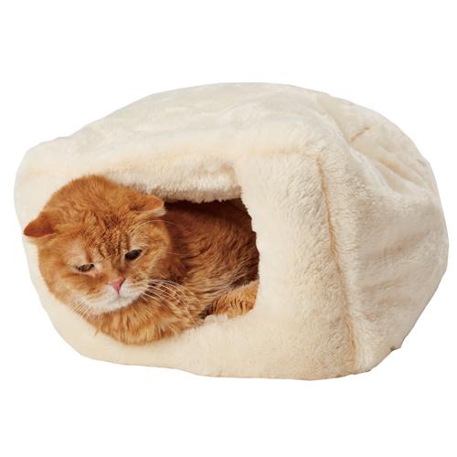 ペティオ やわらかベッド もぐりこみタイプ クリーム 犬猫用 イヌ ネコ ベッド ポリエステル もぐる 超小型犬 小型犬 猫 ポリエステル ポリプロピレン Petio