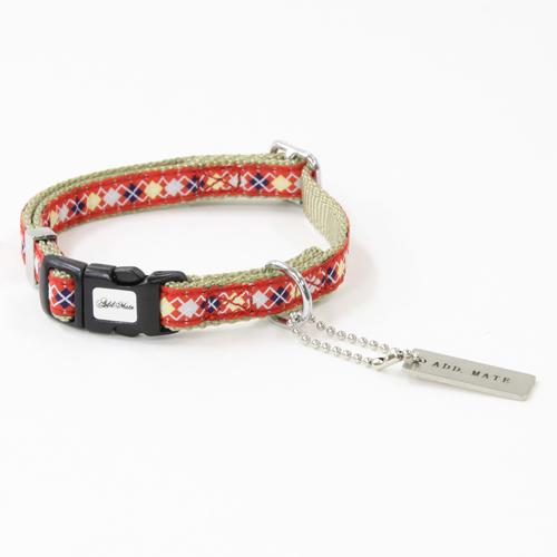 アドメイト アーガイルカラー 犬専用首輪 SS レッド 平首輪 カラー テープ 超小型犬 Add.Mate