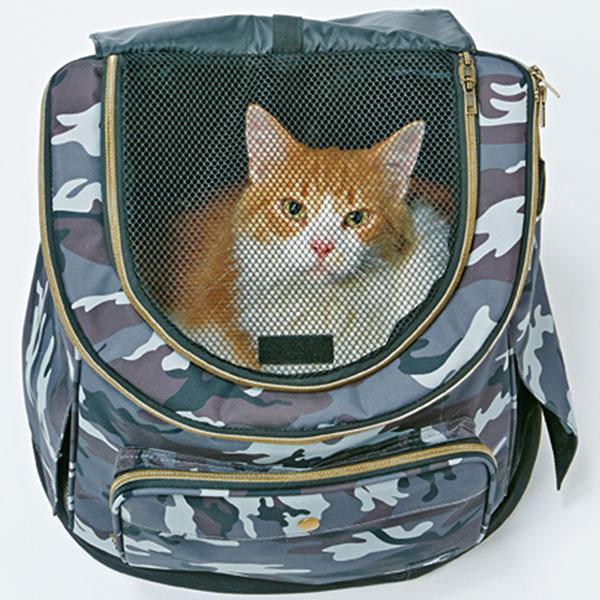 ペティオ necoco リュックキャリー カモフラ 猫用 キャリーバッグ 生地 布 猫 ネコ 短毛猫 長毛猫 ~8kg おでかけにぴったり!リュックタイプで疲れにくく安定した空間で猫ちゃん快適 Petio