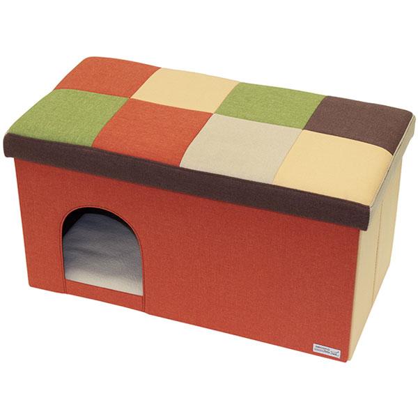 ペティオ necoco ネココ キャットハウス&スツール オレンジモザイク ワイド 猫用 犬用ハウス 布地 猫 ネコ 短毛猫 長毛猫 ~80kg リビングにぴったりなキャットファニチャー Petio