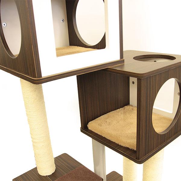 アドメイト カシェットキャットポール 2BOX キャットタワー 猫用 おもちゃ 一人遊び キャットタワー  全猫種 ネコ ~8kg モダンな木目でオシャレな部屋を演出 Add.mate