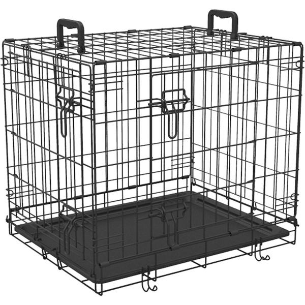 PMJ 折りたたみ 折り畳み ケージ 630 ゲージ 金属 全犬種 コンパクトに収納 タテ置き ヨコ置き出来る2ドアタイプ ドア トレー 引き出して掃除ができるお手入れ簡単プラスチックトレー付 取っ手 持ち運びに便利な取っ手付 Petio