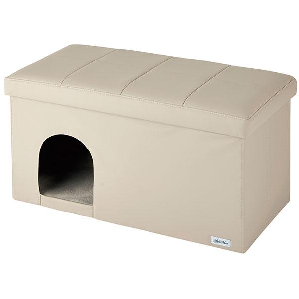アドメイト 引っかきキズに強い ハウス&スツール ワイド アイボリー 超小型犬~小型犬 猫兼用 ~80Kg 布製 Add.mate