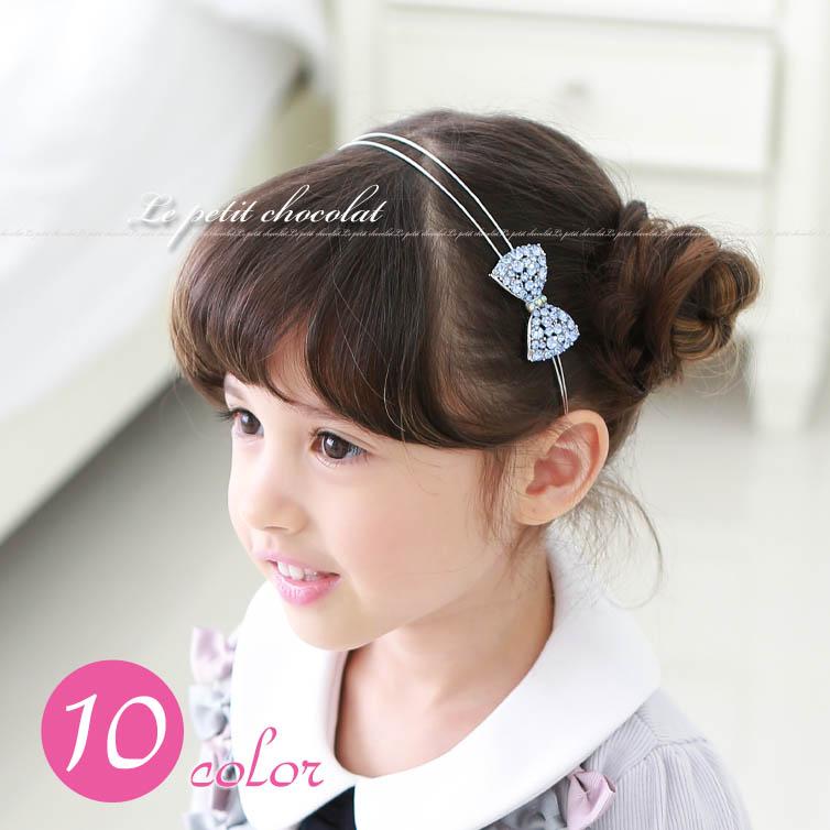 Petit Chocolat Sparkly Ribbon Rhinestone Headband For Kids