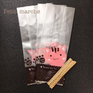 お菓子のお裾分けなどに 完売 ☆ギフト ラッピング袋 ●日本正規品● 15枚セット ネコ柄 タイ付き