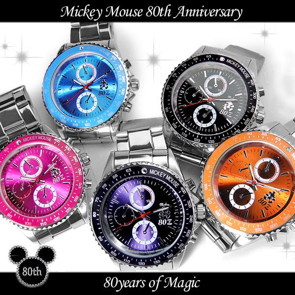 腕時計 Disney ディズニー ミッキー マウス 回転ベゼル クロノグラフ調 スワロフスキー ミッキー生誕80周年記念回転ベゼル腕時計 (fa-1050147) ウォッチ 金属ベルト ステンレス 高級感 キュート シリアルナンバー 専用ボックス ミッキー生誕80周年記ウォッチ♪