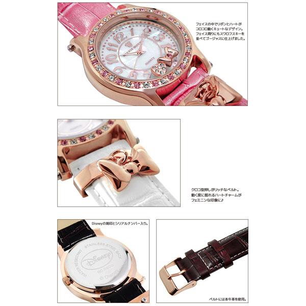 腕時計 レディース Disney ディズニー ミニー マウス 本牛革ベルト スワロフスキー ミニーリボンチャーム腕時計 (fa-NFC130530/534) ウォッチ レザー クロコ型押し 大人可愛い シリアルナンバー 専用ボックス 動く度に揺れるリボンチャームがキュートな腕時計♪