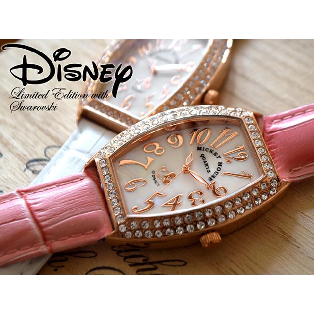 腕時計 レディース Disney ディズニー ミッキー ミッキーマウス 本牛革ベルト スワロフスキー ミッキートノー型腕時計 (fa-NFC130527-29) 本革 ステンレス かわいい ケース 専用ボックス シリアルナンバー これ一つでジュエリー代わりに♪【RCP】02P23Aug15
