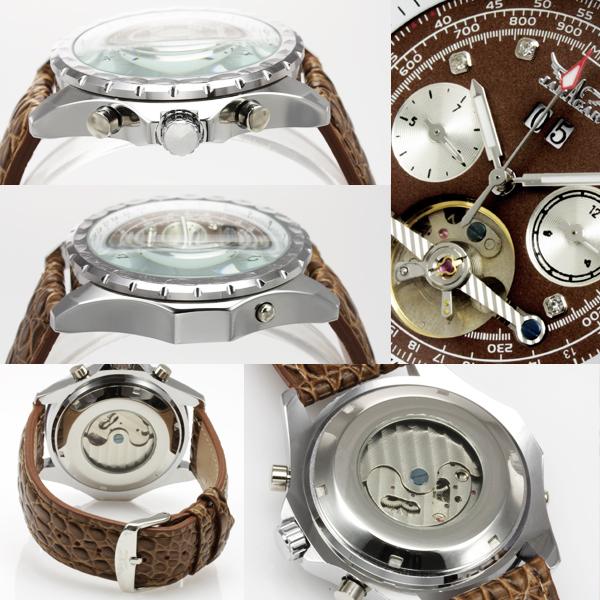 【】腕時計 時計 メンズ 自動巻き ミリタリー 革ベルト カレンダー WINNER ビッグフェイス 腕時計 BCG105 ブラウン レッド (ru-AC-W-BCG105m) ギミックの効いた仕上がり!デザイン性も◎【メール便】【代引き別途】