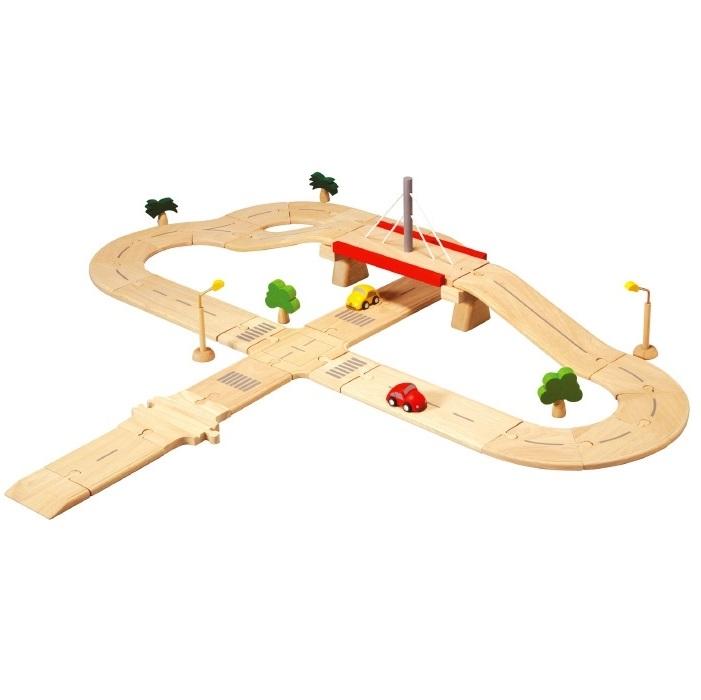 【送料無料】ロードシステムデラックス 乗り物セット 木のおもちゃ 6078 プラントイ Plantoys 3歳以上 ベビー キッズ 子供 知育玩具 木製 ロード レール