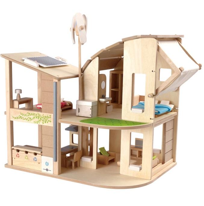 家具付きグリーンドールハウス 木のおもちゃ 7156 プラントイ Plantoys 3歳以上 ドールハウス ベビー キッズ 子供 知育玩具