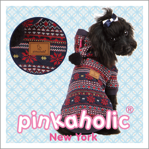 PINKAHOLIC NEWYORK ピンカホリック ニューヨーク おトク ボンボン付きノルディック柄パーカー 犬服 ドッグウェア 雪の結晶のデザインが冬らしさを演出☆ メール便のみ ポイント2倍中 25%OFF SP 全国送料無料 NALD-TS514 P2