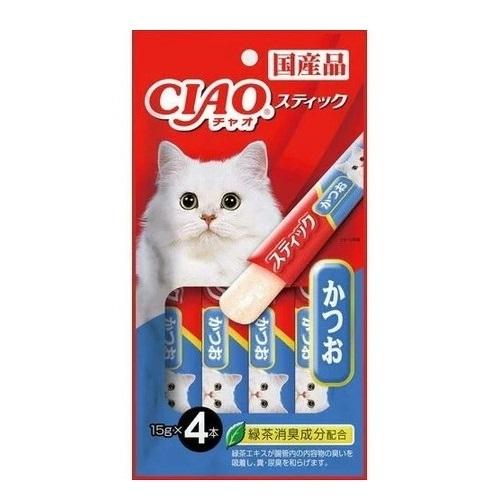 国産品 いなば CIAO チャオ スティック かつお ゼリータイプのおやつ セール商品 チャオ☆4901133453076 キャットフード 賞味期限は2022年1月末日以降です 15g×4本 猫おやつ ねこちゃんのおやつ 無料