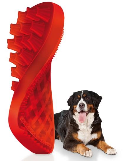 【正規品】ペットアンドミー ラバーブラシ 犬・長毛種用 赤