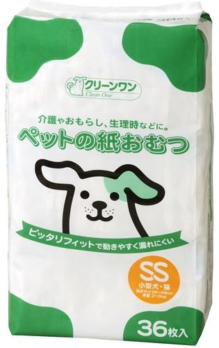 ピッタリフィットで動きやすく漏れにくいペットの紙おむつです 4990968510450 クリーンワン 36枚 日本最大級の品揃え ペットの紙おむつ お得なキャンペーンを実施中 SS