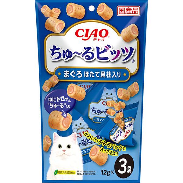 チャオ 新品未使用 ちゅ~るビッツ まぐろ ちゅーる ほたて貝柱 12g×3袋 新作入荷
