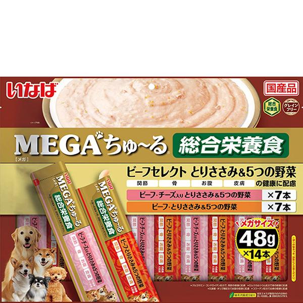 いなば MEGAちゅ~る 犬用 ビーフセレクト とりささみ&5つの野菜 48g×14本